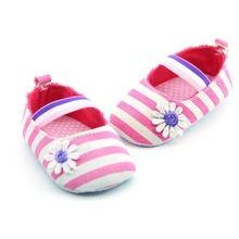 Nouveauté bébé fille toile rayé chaussures à semelle souple chaussures berceau bébé Prewalkers 0-18 mois