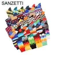 sanzetti 5 pairlot funny pattern bright colorful men socks argyle oil painting dot striped combed cotton crew wedding socks