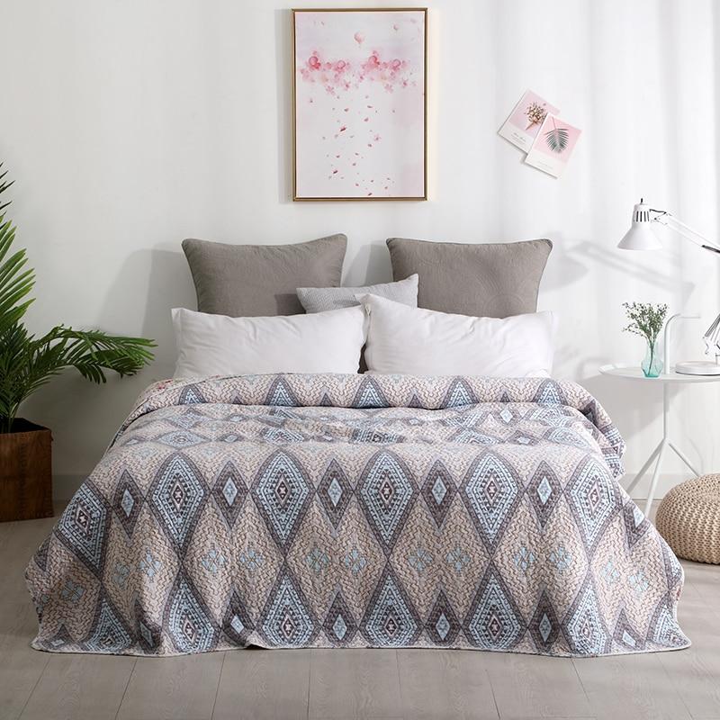 Colcha de algodón 100% para todas las estaciones, funda de cama estampada Premium de algodón, funda de sofá acolchada, colcha de verano natural, edredón