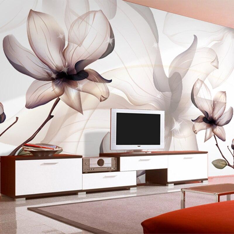 Personalizado 3d papel de parede arte moderna transparente flores de lótus fumaça foto mural sala estar jantar decoração da casa simples fresco