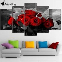 Art mural sur toile 5 panneaux   Belle Rose rouge modulaire, grande toile dart murale, toile imprimée, peinture encadrée
