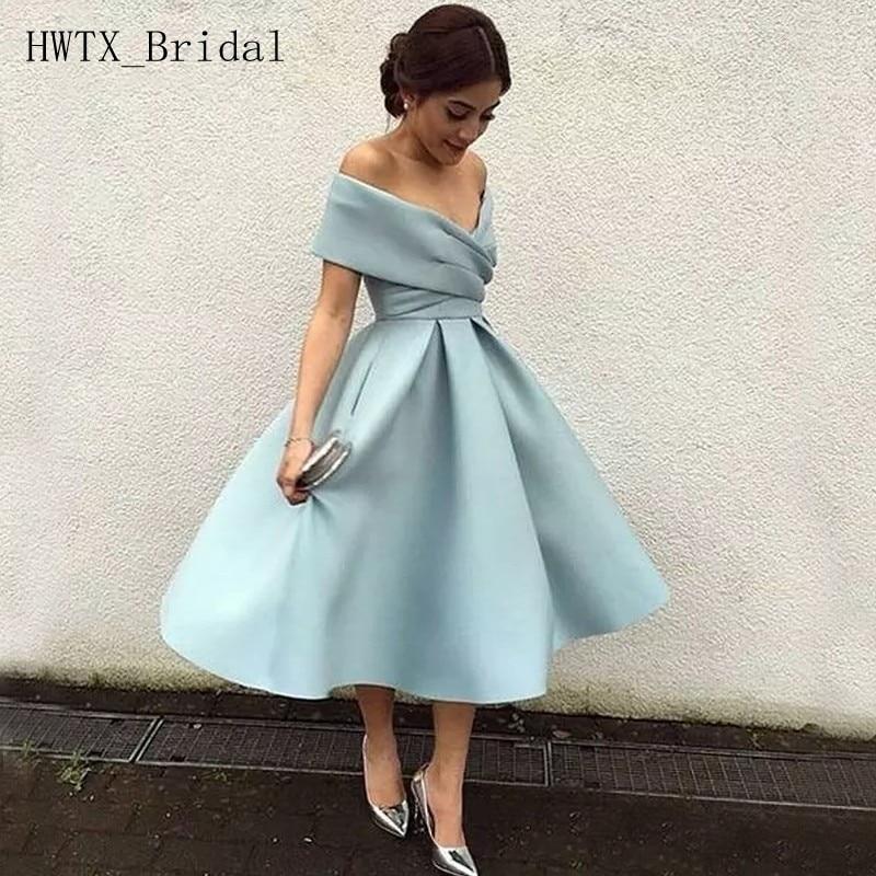 Vestidos de dama de Honor baratos de longitud del té sin hombros de talla grande una línea de satén vestido de invitados de boda 2020 vestidos cortos de dama de Honor