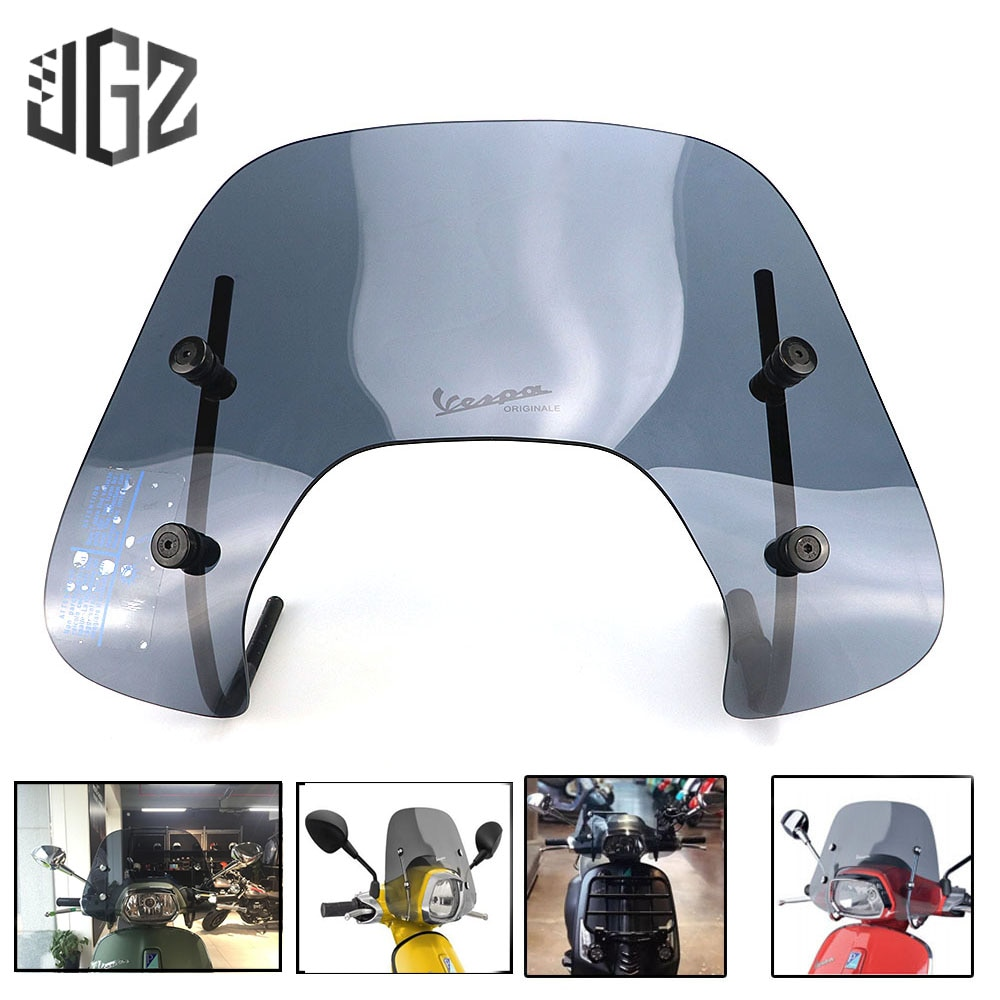 Protector Deflector de viento para parabrisas de pantalla de acrílico de motocicleta para VESPA Sprint 150 con accesorios de soporte negro claro S