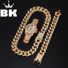 2cm Hip Hop couleur or glacé cristal Miami chaîne cubaine collier et Bracelet ensemble de montre vente chaude le roi HIP HOP