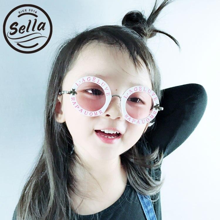Sella, moda para chicas, Retro, marco redondo, letras, decoración de abejas, diseñador de marca, lentes tintados, gafas de sol, Cutie niños, gafas, gafas