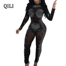 QILI Women Diamonds Rhinestone Jumpsuits Sexy See Through Mesh Skinny Long Pants Bodycon Jumpsuit Black Khaki Club jumpsuit