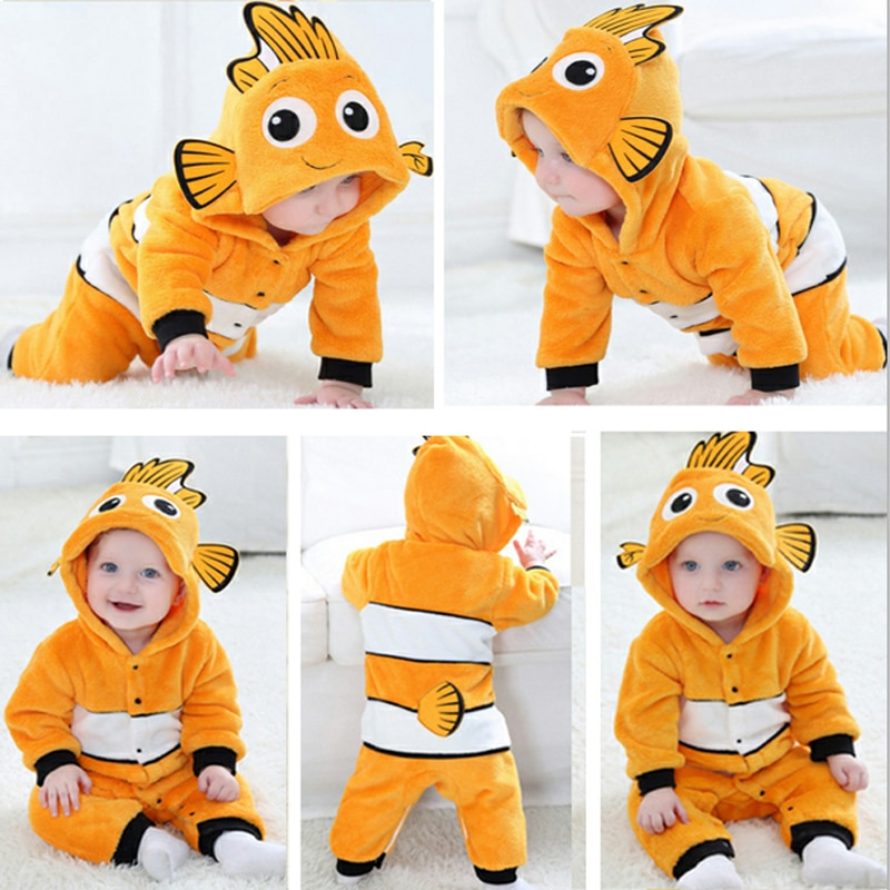 2019 Baby Rompers Fish Baby Boy Girl Jumpsuits Animals Newborn costumes Warm Winter Coral Fleece pijamas de bebe recien nacido