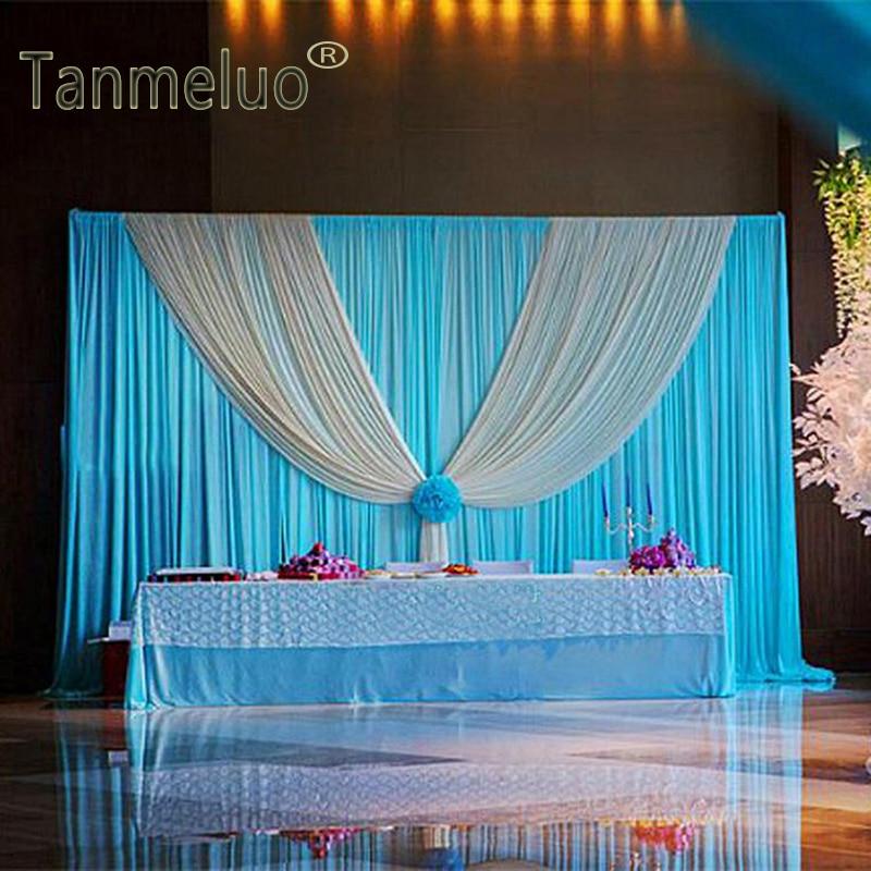 W3M x H3M ستارة خلفية للزفاف ، أزرق مع غنيمة ، زينة مسرح للحفلات والمناسبات