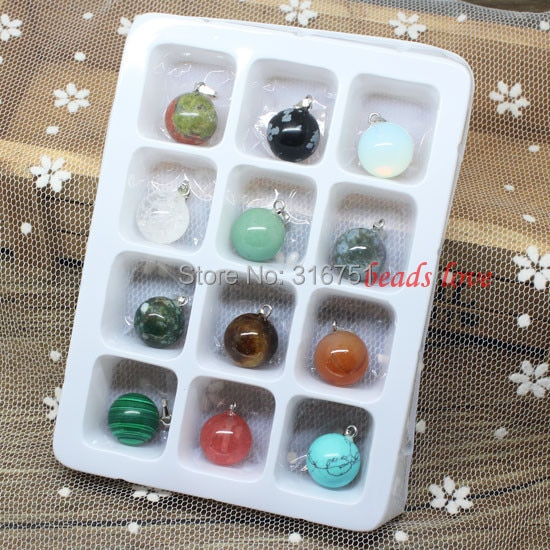 Gran oferta al por mayor lotes 12 Uds mezcla de adornos de piedra natural Multi-estilo encontrar colgantes 14mm (w02529) Aa