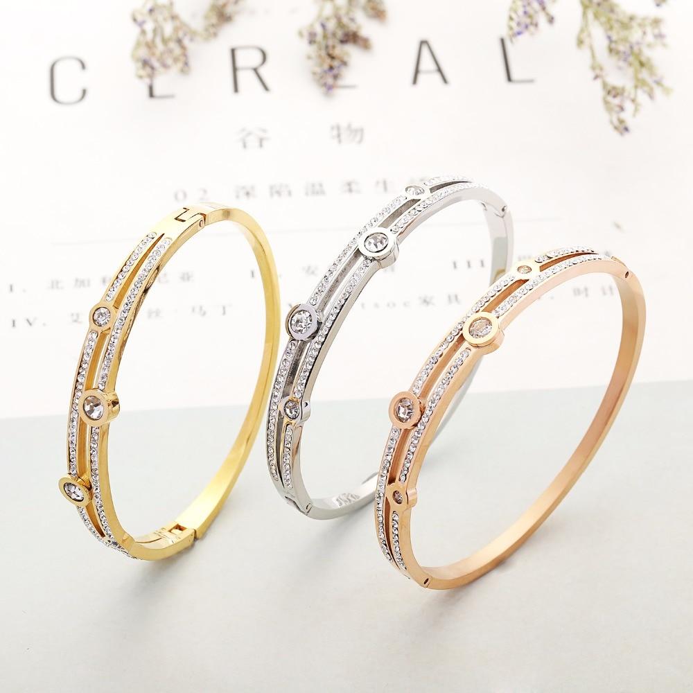 CZ Zircon 316L Titanium Stainless Steel Love Cuff Bangle Gold Color Crystal Brand Lover Charm Bracelets & Bangles For Women Men