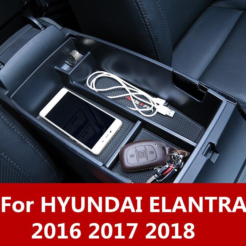Caixa de armazenamento console braço apoio braço central do carro resto bandeja titular caso palle acessórios auto para hyundai elantra 2016 2017 2018