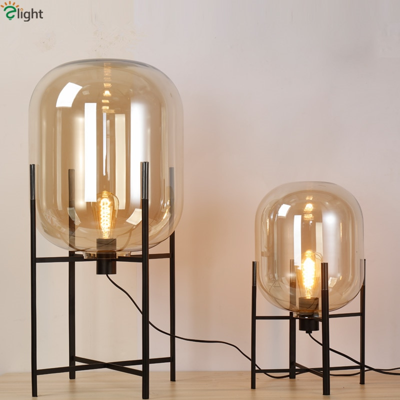 Europa Oda Pulpo lámpara de mesa globos de vidrio Lámpara de Metal cuerpo escritorio luz ámbar gris tonos de mesa Deco lámpara para dormitorio
