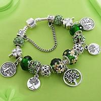Stering 925 серебряных Древо жизни Мода шарик кастрюле браслет Зеленый Кристалл Цветочный листьев прелести кнопки и браслет pulsera