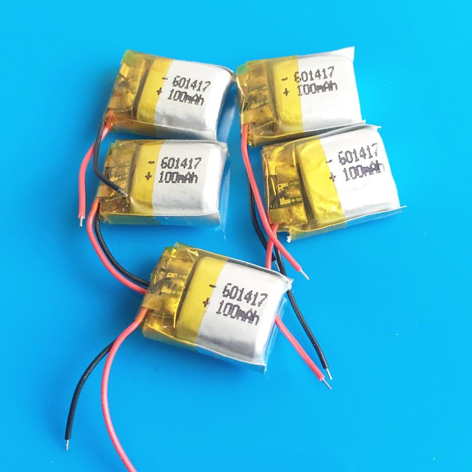 Batería recargable lipo de polímero de litio de 100mAh de 5 uds, tamaño pequeño para MP3, auriculares bluetooth para reloj, bolígrafo de vídeo 601417