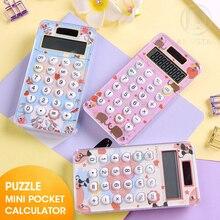M & G Mini calculatrice de poche de dessin animé, calculeuses mignonnes de poche à main, petite calculatrice électronique solaire rose