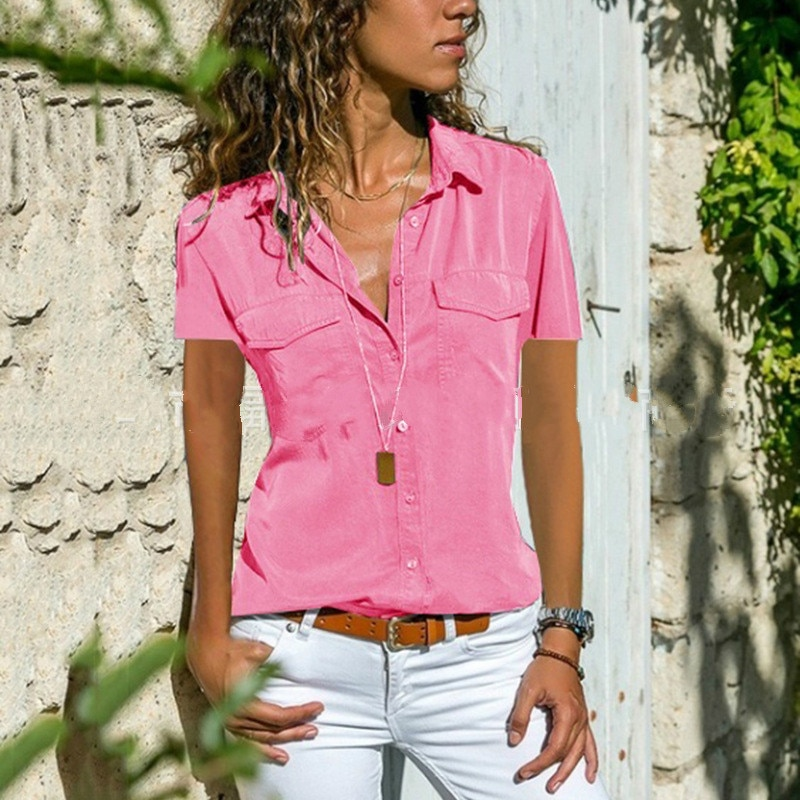2019 women summer and autumn new ladies cotton shirt lapel short-sleeved shirt women's clothing