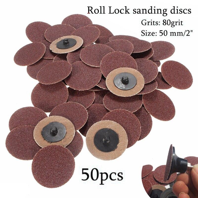50 шт 80 Грит 2 рулонный замок шлифование наждачной бумагой диски типа R Roloc шлифовальный станок абразивный