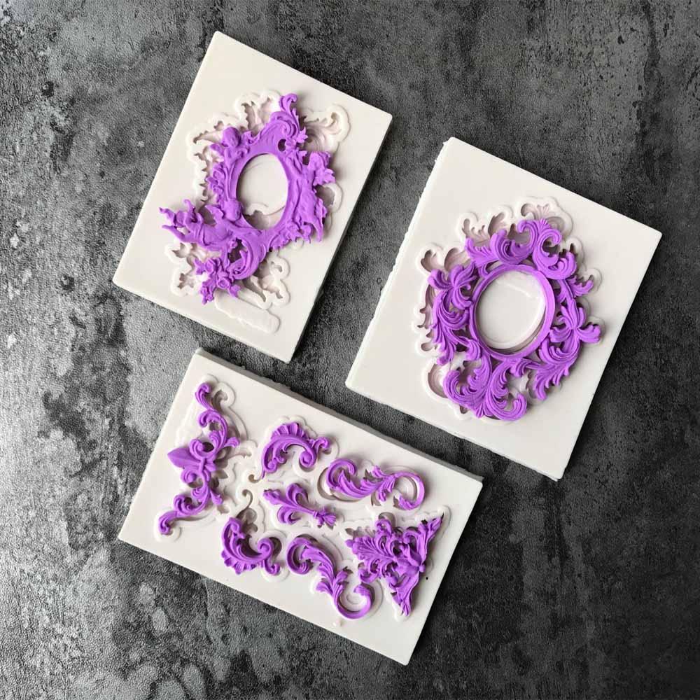Muchos tipos de moldes europeos en forma de serie de relieve de silicona pastel de herramienta de decoración molde herramienta de hornear molde para figuras de azúcar