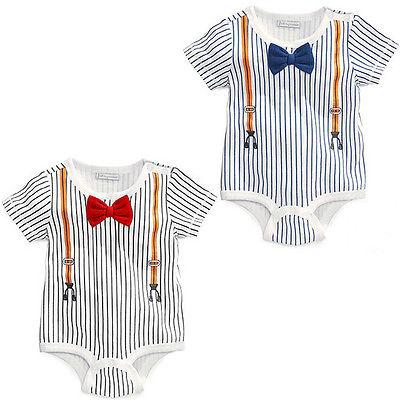 Gentleman Baby Boys Newborn Sailor Bow Vertical Stripes Uniform Summer Jumpsuit Romper Climbing Clothes 0-24M