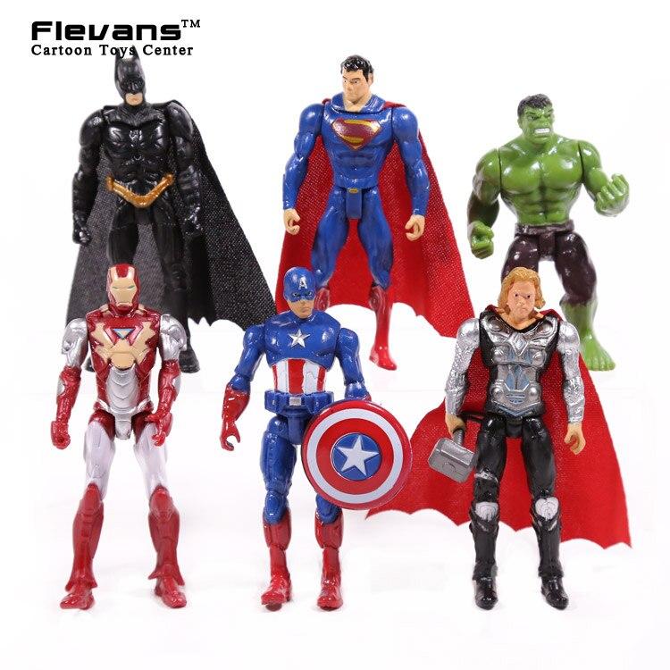"Cómics maravilla DC superhéroes 6 unids/set Iron Man Thor Capitán América Batman Superman Hulk PVC figuras de acción juguetes 4 ""10 cm"