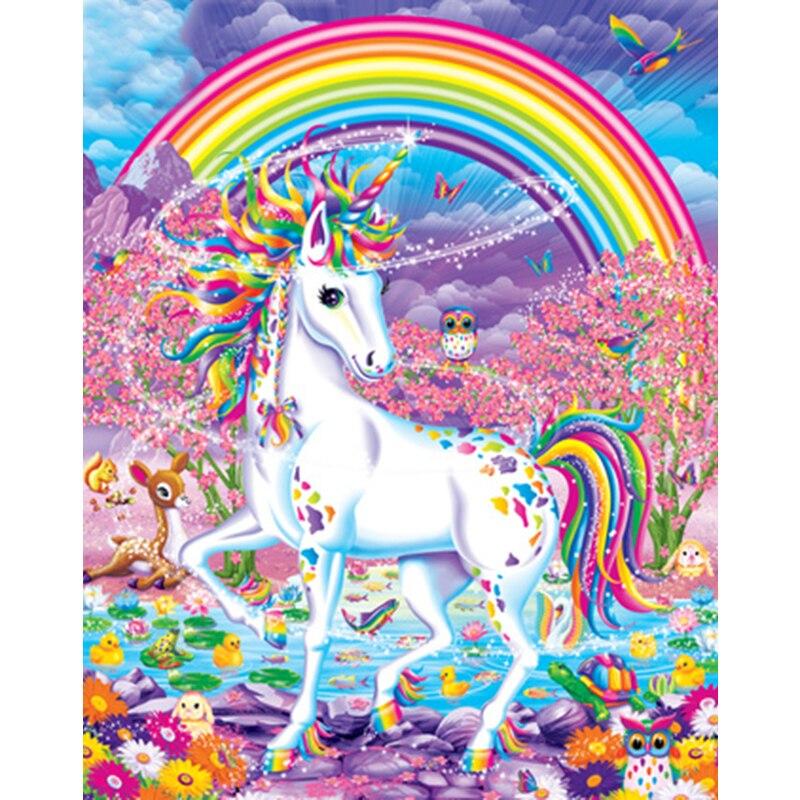 Радуга Единорог Лошадь ребенок DIY Цифровая живопись по номерам Современная Настенная живопись холст уникальный подарок домашний декор 40x50cm