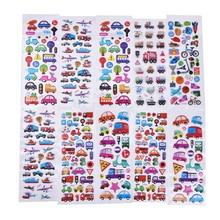 2/6Pcs/lot Mixed Cartoon Bubble Stickers Transport Cars Children Kids Girls&Boys Cartoon Stickers Decoration Christmas Gift