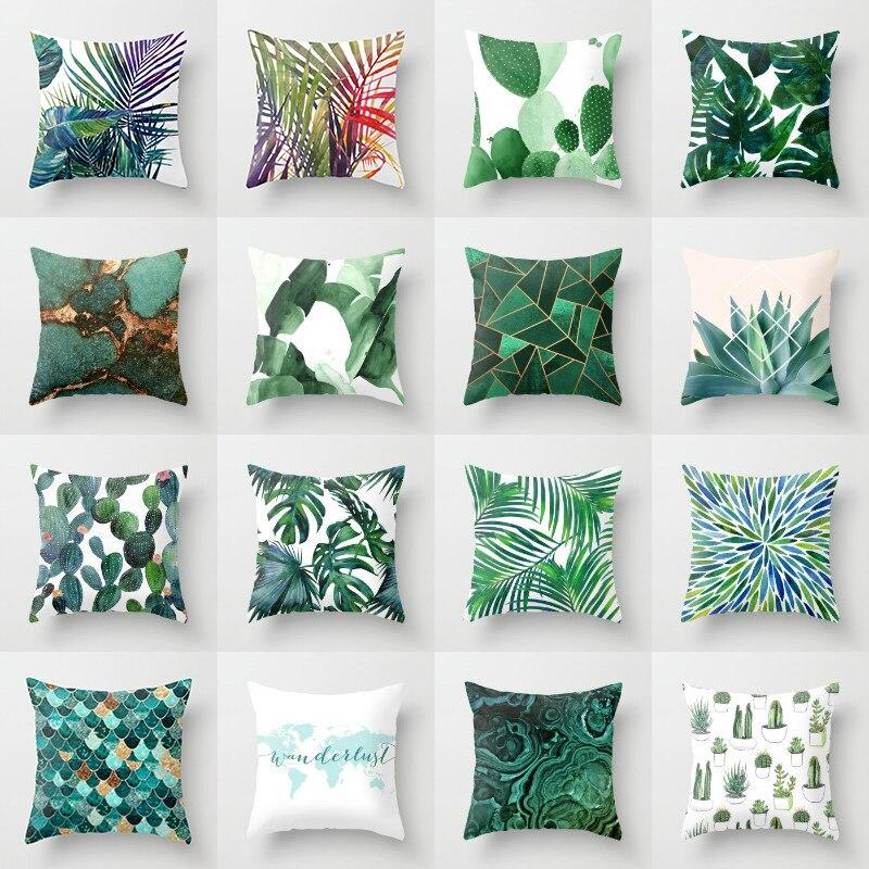 Cojines de lino de algodón Elife con diseño de Cactus y hojas verdes tropicales, funda decorativa de poliéster para sofá o coche, funda de almohada para decoración del hogar