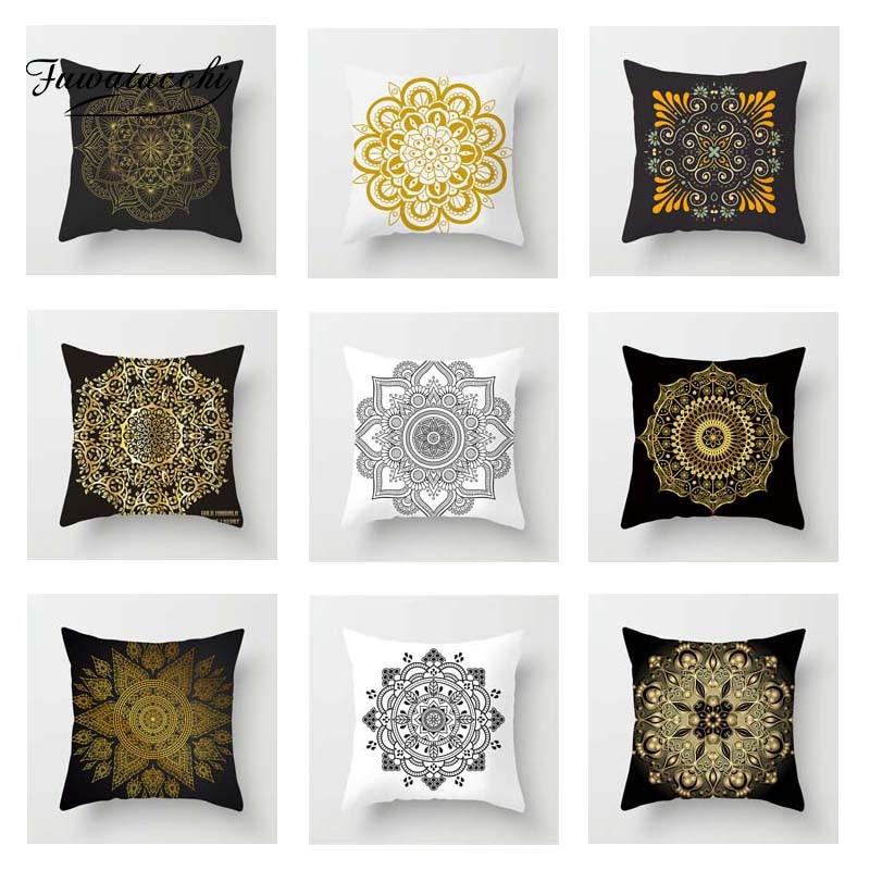 Fuwatacchi Floral Cushion Cover Gold  Mandala Black Golden Throw Pillow Cover Decorative Pillow Cover Sofa Pillowcase