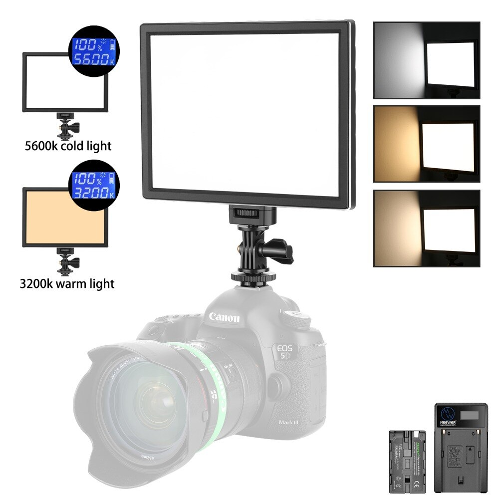 Neewer T100 más suave SMD luz LED para vídeo Kit de iluminación bi-color regulable Ultra delgado Panel LED con batería de iones de litio y cargador USB