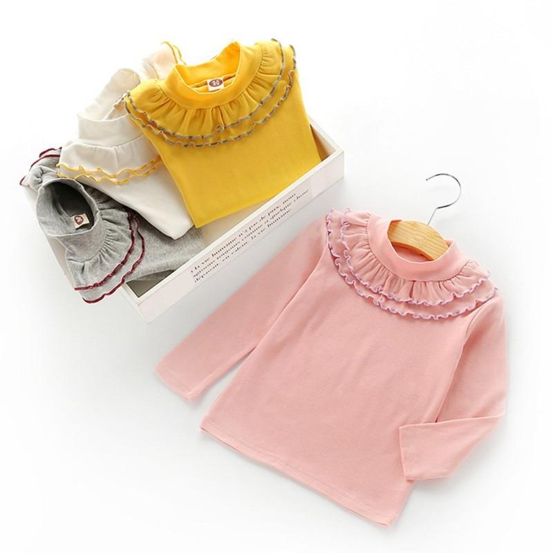 Весенний пуловер для девочек, детская одежда с цветочным принтом и воротником, красивая футболка с длинными рукавами, модная детская одежда, 2018
