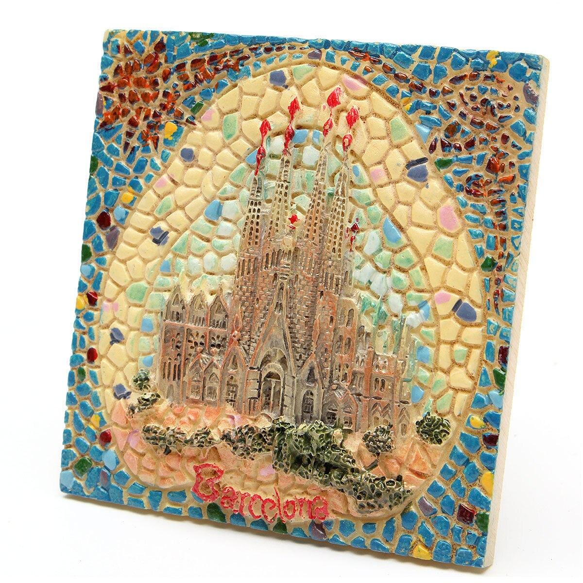 1 unidad 6,1 cm España Barcelona Souvenir turístico 3D resina mosaico imán de nevera