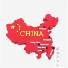 Cina Bandiera Mappa del Magnete Del Frigorifero di Punto di Riferimento di Pechino Shanghai Guangzhou Hong Kong Taiwan Turismo Souvenir Frigorifero Autoadesivo Magnetico