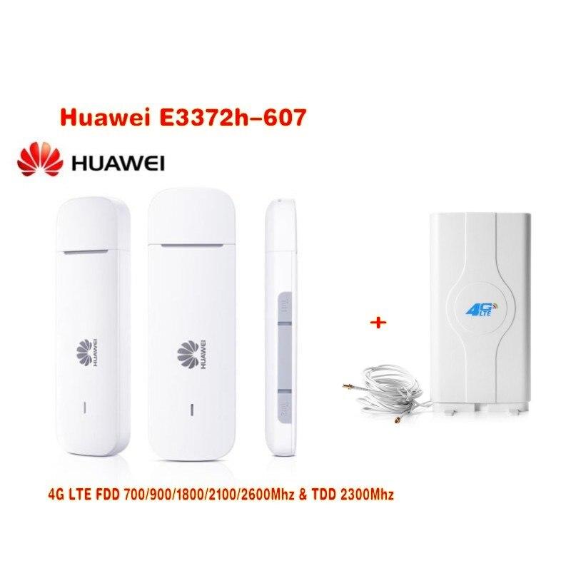 Desbloqueado nueva llegada Huawei E3372 E3372h-607 USB 4G LTE 150Mbps LTE 4G USB Dongle plus con 4G 49Dbi CRC9 antena MIMO