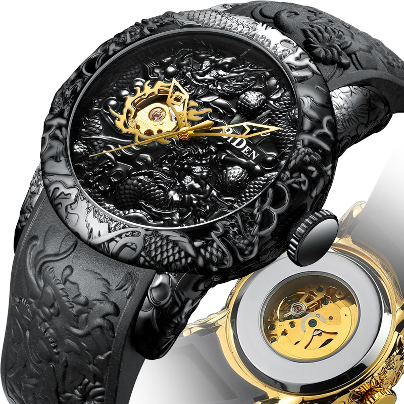 Moda topo marca dos homens relógio automático ouro dragão 3d escultura design luxo relógio masculino steampunk relógio de pulso mecânico relogio
