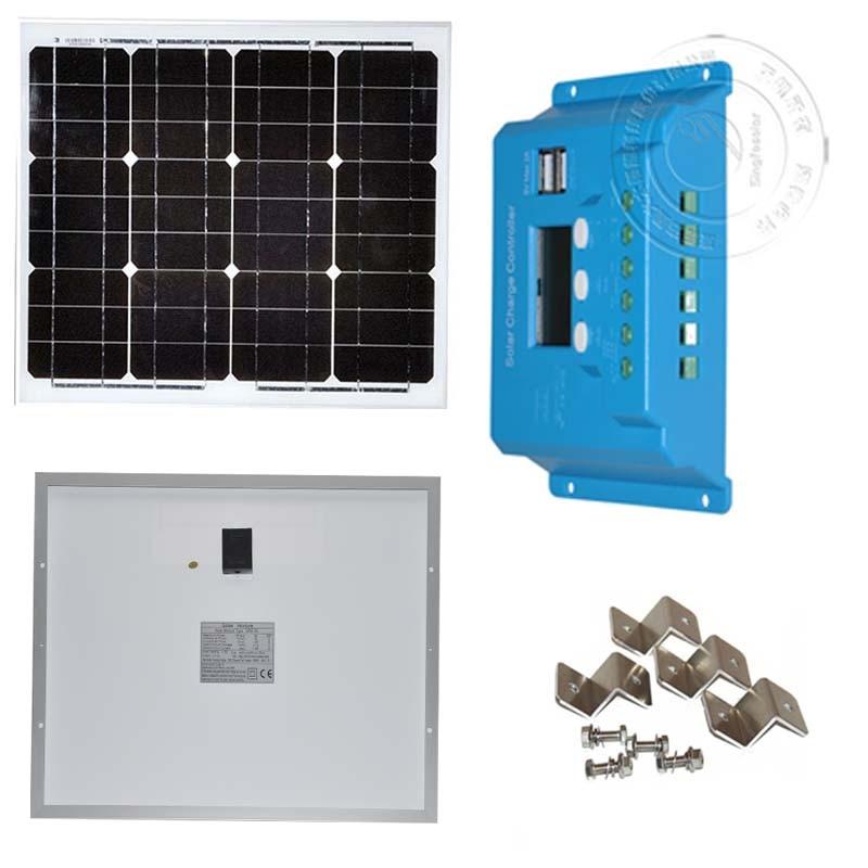 Kit Placa Solar Fotovoltaica 12v 30w Solar Charge Controller 12v/24v 10A Solar Charger  Solar Phone Charger Car Camp Caravan