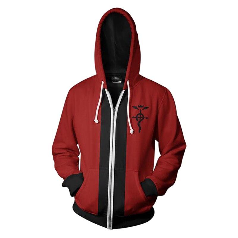 Fullmetal Alchemist Edward Elric chaqueta con capucha cremallera impresión 3D alta calidad con capucha adulto Primavera Verano otoño sudadera