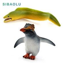 Simulação Modelo Animal do Pinguim Pequeno Peixe Enguia do mar acessórios de decoração decoração de casa figura Pvc Estatueta de fadas do jardim em miniatura