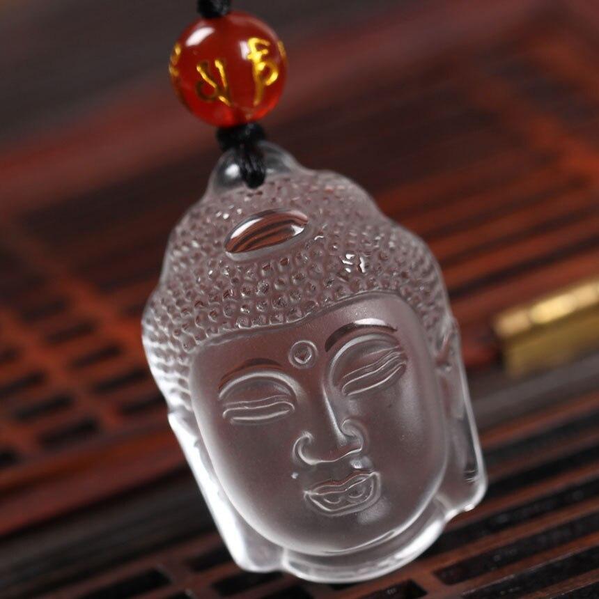 Collar guardián de Cabeza de Buda tallada en cristal blanco de cuarzo puro Natural, joyería de moda, colgante de amuleto sobrenatural, nudo de la suerte