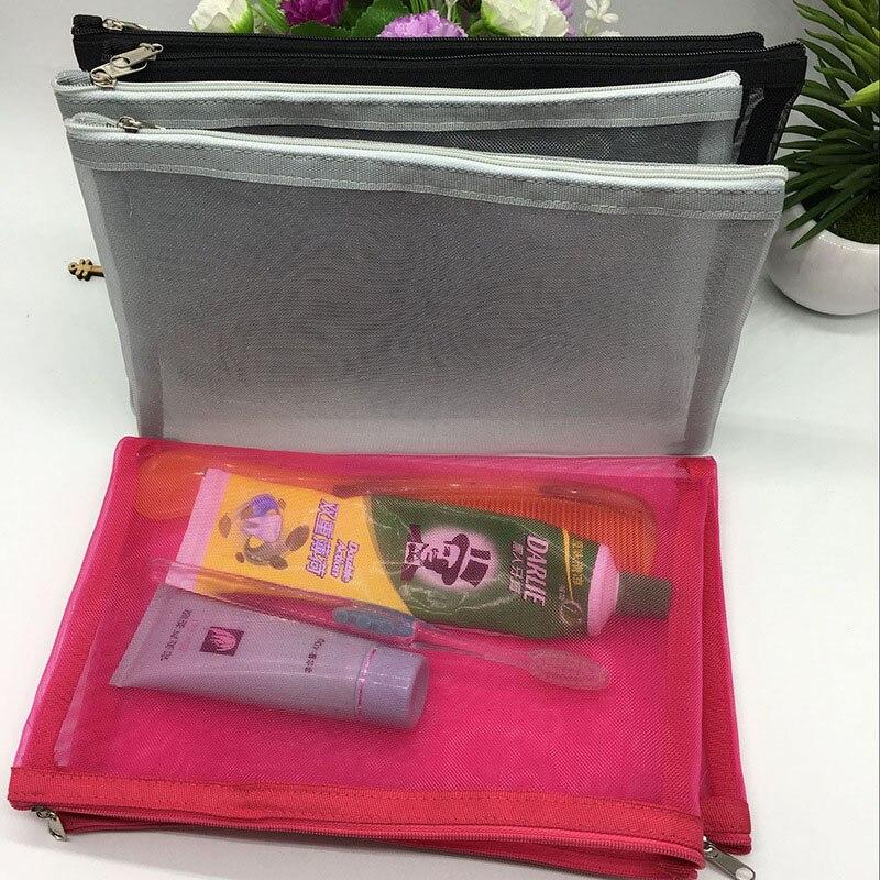 Newest Travel Cosmetic Bag Women Fashion Black Mesh Zipper Makeup Case Animal Make Up Bags Organizer