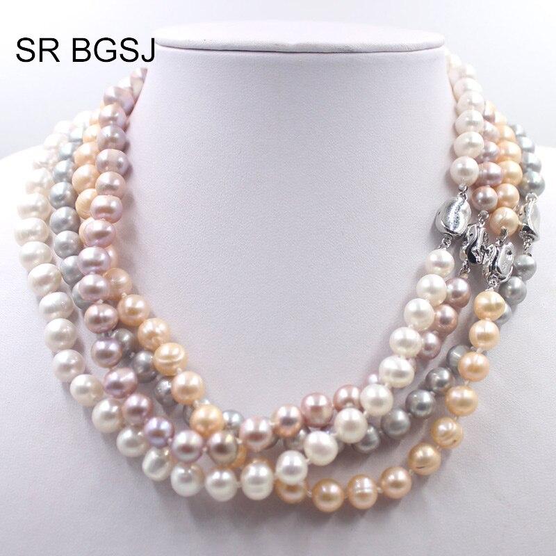 """Envío Gratis 8-9mm blanco rosa púrpura gris redondo cultivado natural perla cuentas mujeres gargantilla de perlas 19"""""""