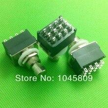 10 stks/partij 12-pin 4PDT Gitaar Effecten Pedaal Box Stomp Foot Metal Switch True Bypass black
