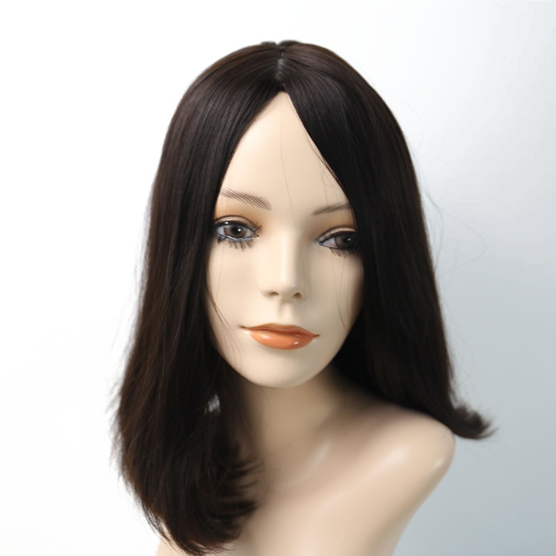 Jewish Wigs European Remy Hair With Baby Hair Straight Human Hair Wigs Silk Top 4# Color Kosher Wig Pre Colored Venvee