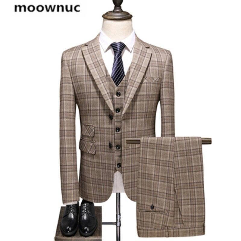 (سترة + سترة + السراويل) 2019 الخريف جديد الرجال الأعمال الزفاف دعوى الرجال الكامل الرجل الموضة مشبك الدعاوى الكلاسيكية الدعاوى S--5XL