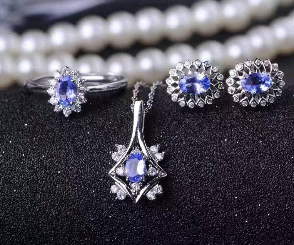 Tanzanita azul natural joya joyería conjuntos natural colgante de piedras preciosas pendientes de anillo 925 Plata Diana mujeres joyería fina