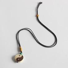 En gros élégant chanceux corde collier sculpté à la main Yinyang signe pendentif collier pour homme femme chinois amulette bijoux Unique cadeau