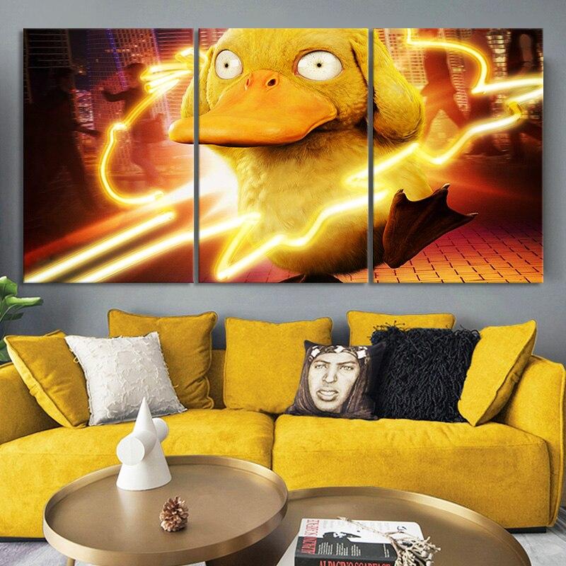3 piezas Pokemon Detective Pikachu película Poster Anime figura Psyduck arte de la pared imagen decoración del hogar arte de pared pegatina para regalo