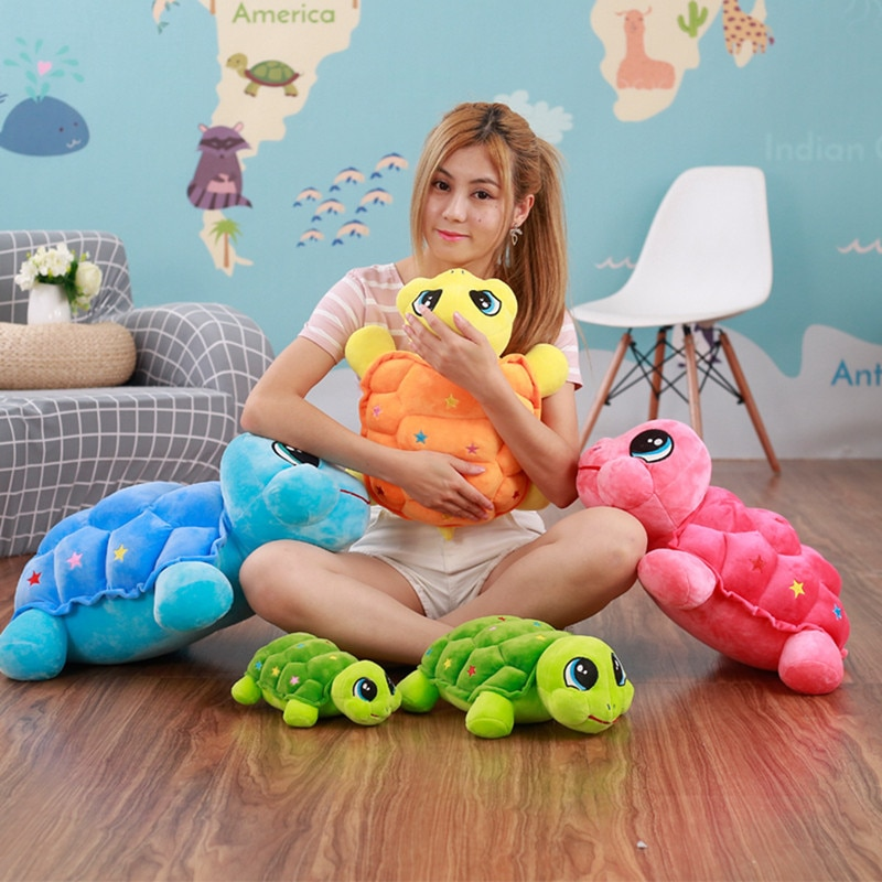 Coloridos PP algodón peluche tortuga juguetes de peluche suave animales de dibujos animados muñecas almohadas suaves para niños niñas regalos de cumpleaños 3 colores