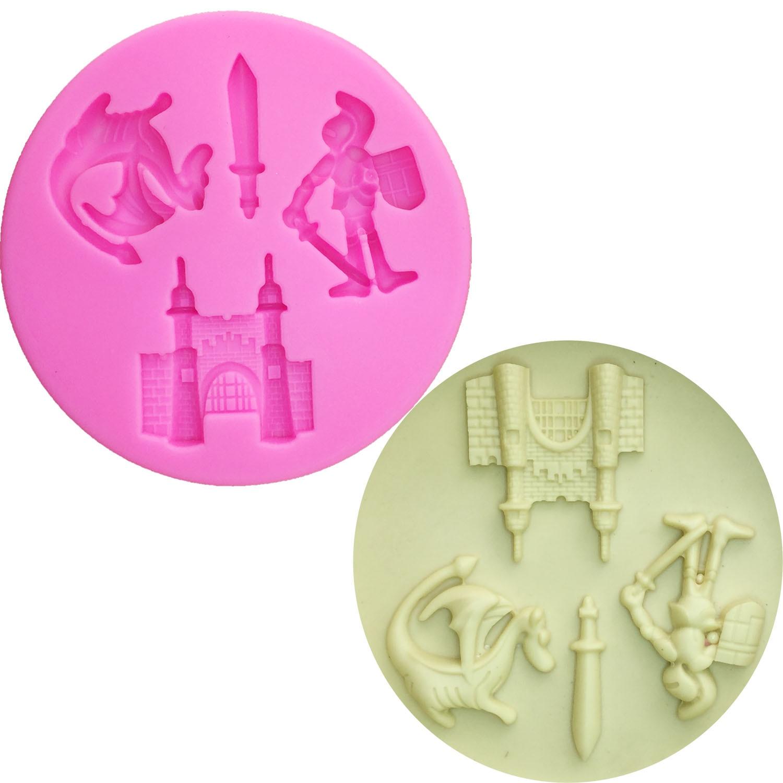 M0528 de dragón de dibujos animados/Castillo/Soldado/flecha moldes de silicona para torta DecorationTools pastillaje
