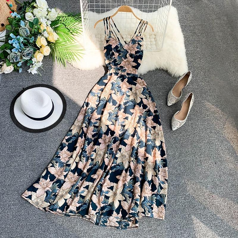 2020 new fashion women's dresses Seaside resort beach sexy backless swing dress strap dress