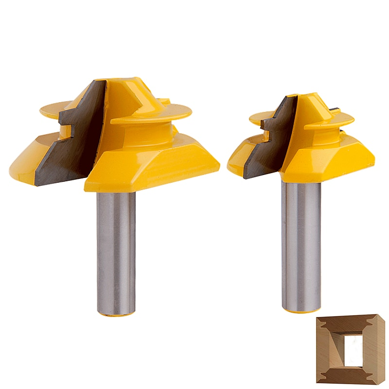 Купить с кэшбэком RCT 45 Degree Lock Miter Router Bit 1/2'' Shank Tenon Cutter Milling Cutters For MDF Plywood Wood Cutter Woodworking Tools